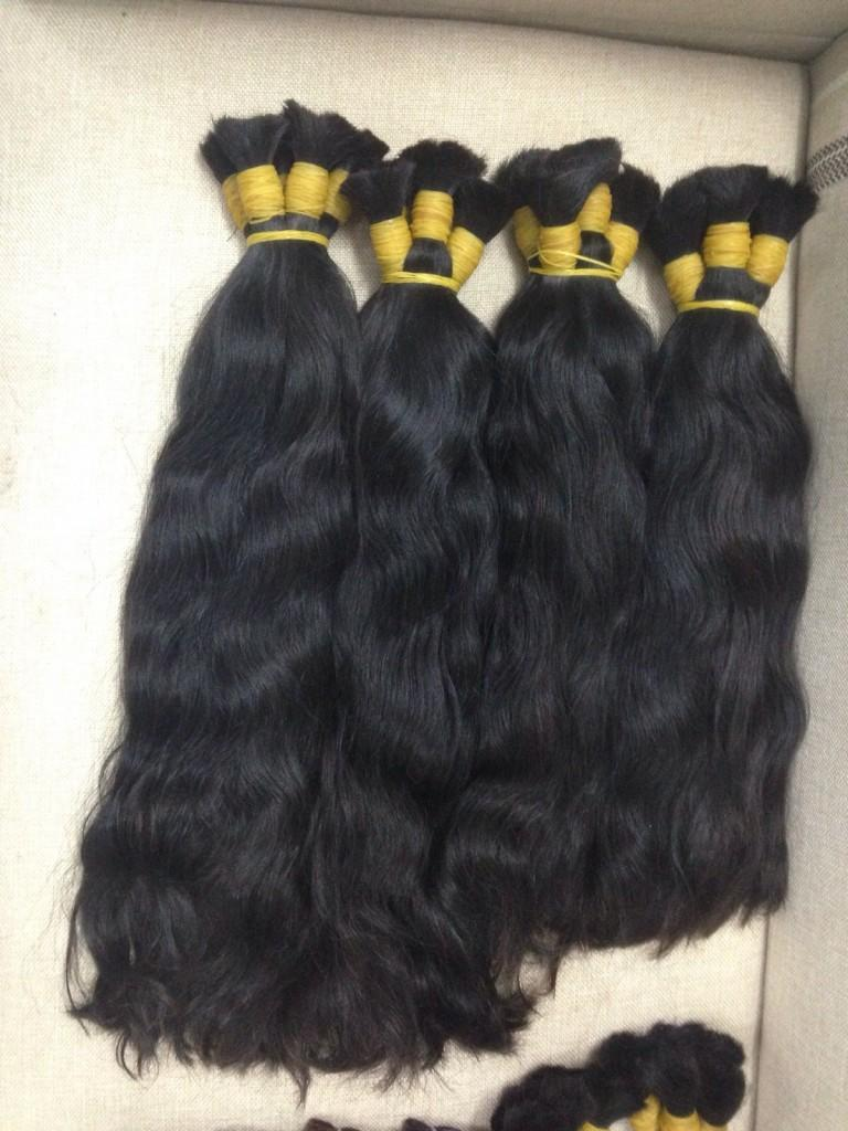 Double drawn bulk natural wavy hair color #1b 22''