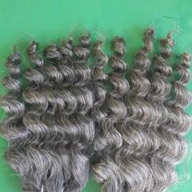 Double drawn machine weft curly grey hair 14''