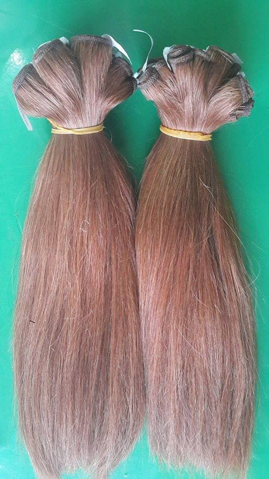 Double drawn machine weft straight hair color #8 14 inches