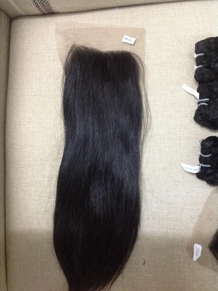 Lace closure straight hair color #1b 20''