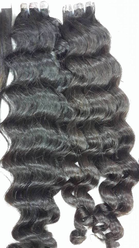 Pre Bonded Hair Extensions Tape Wavy Hair Color 1b 18