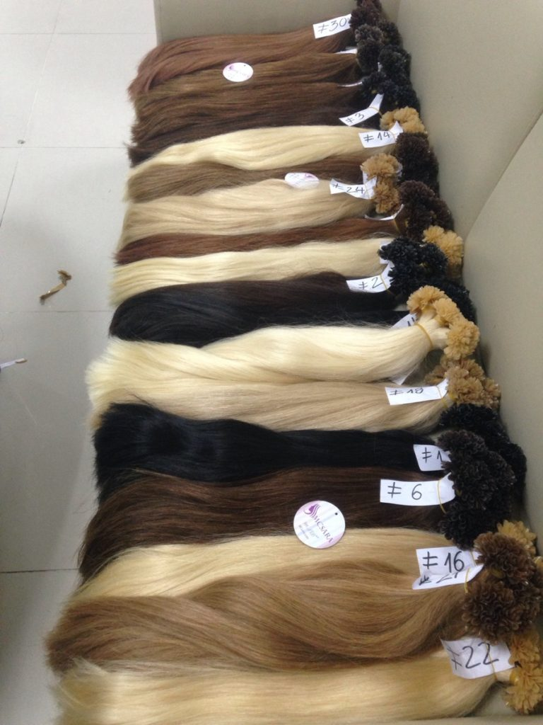 1Nail tips hair extensions, double drawn hair, straight, various sizes and color