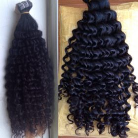 1Tape hair extensions, curly, natural black color