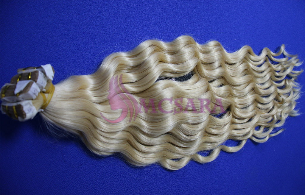 tape in wavy hair blonde color - logo 2