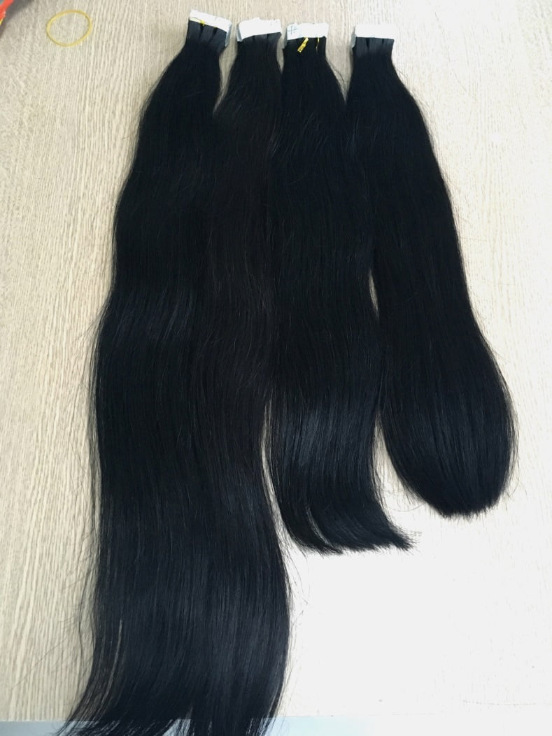 Tape In Double Drawn Straight Hair Extensions Black Color
