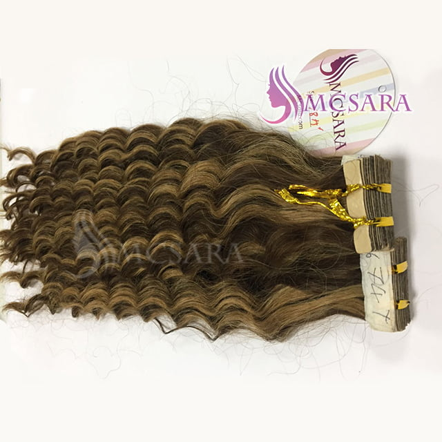 Tape in curly hair mix color (2)