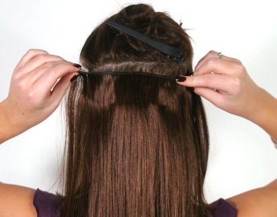 How to attache clip in hair extensions 2