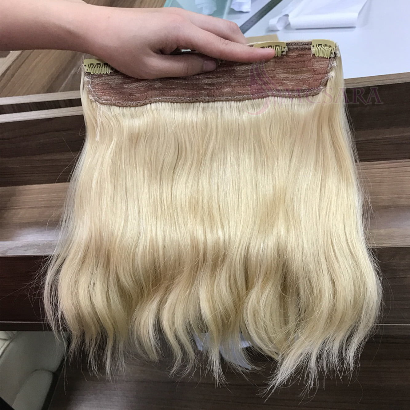 14 inch Clip in hair extensions blonde color
