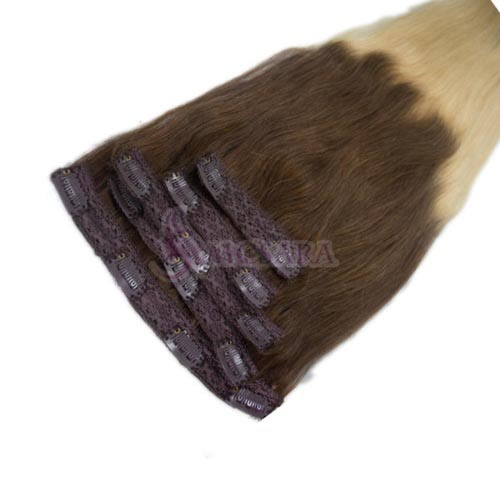 22 inches clip in hair extensions ombre color